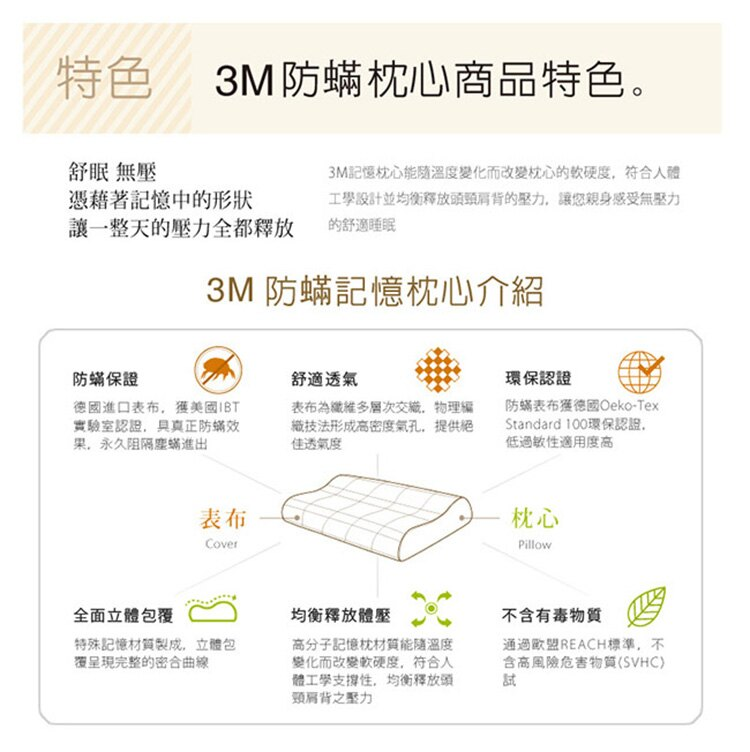 3M 淨呼吸防蹣記憶枕機能型M尺寸(超值兩入組) - 1