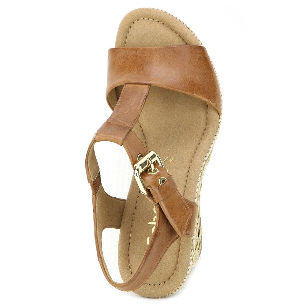 Gabor 修身輕躍 時尚金屬扣飾楔型涼鞋 濃咖啡 4