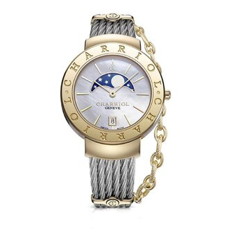 CHARRIOL夏利豪(ST35CY.560.002)香檳金月象盈虧優雅鋼索腕錶/珍珠母貝面35mm