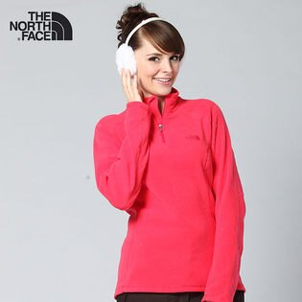 The North Face 女 polartec女半門襟刷毛上衣 AJHPXZ8『粉桃紅』