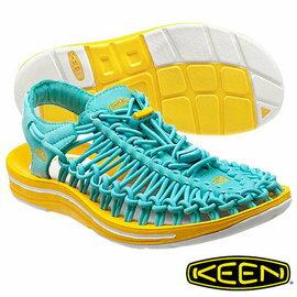 Keen Uneek 女 輕量護趾編織款涼鞋 淺藍/黃 1013093