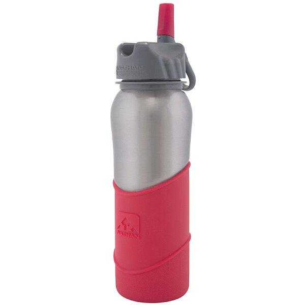 NATHAN Steel Flip Bottle SILICONE SLEEVE 不鏽鋼運動吸管水壺 700 紅 4074ND (原台中秀山莊)