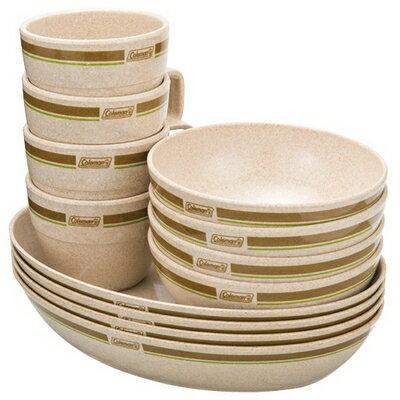 桃源戶外 Coleman 竹纖維四人份餐盤組 (盤x4 + 碗x4 + 杯x4 + 收納袋) CM-2922J|露營|炊具|套鍋
