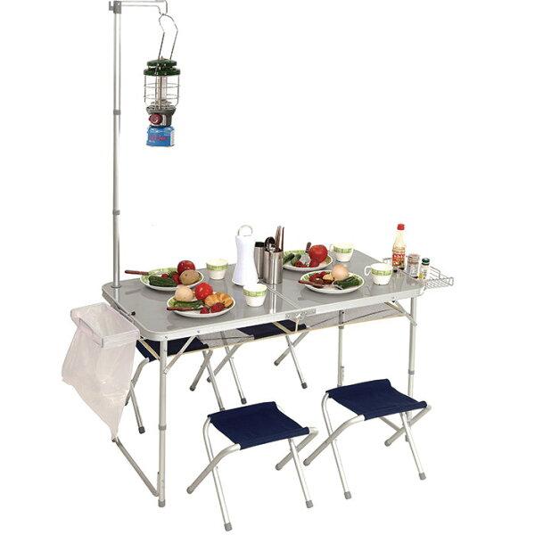 PINUS 鋁合金折疊桌椅 (附燈架 / 4張椅 / 置物網) 戶外 露營 P13710