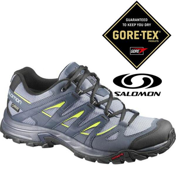 Salomon 男 Gore-Tex 防水登山健行鞋 ESKAPE GTX【珍珠灰/壁虎綠】370743|登山鞋
