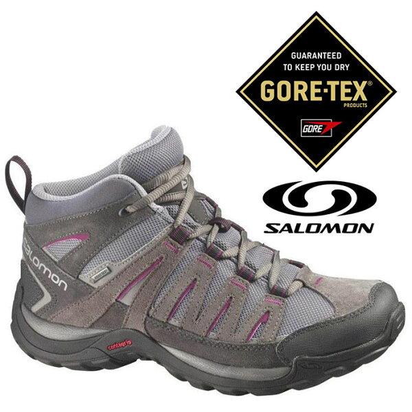 Salomon 女 Gore-Tex 中筒 防水登山健行鞋 NORWOOD MID『瀝青/胭脂紅』373170|登山鞋