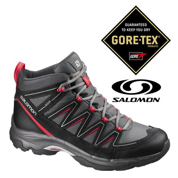Salomon 男 Gore-Tex 中筒 防水登山健行鞋 HICKORY MID『瀝青灰/亮紅』373741|登山鞋