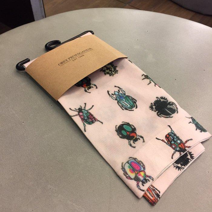 BEETLE PLUS 西門町經銷 全新 美國品牌 OBEY INVASION SOCKS 昆蟲 瓢蟲 甲蟲 超薄 中筒襪 長筒襪 200260006OTL OB-244 0