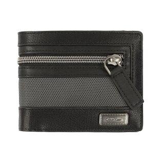 美國百分百【全新真品】Calvin Klein 皮夾 CK 短夾 二折 皮革 拉鏈 專櫃 男 黑 F286