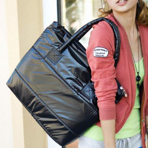 肩背包太空包休閒輕量手提包黑色-JC Collection