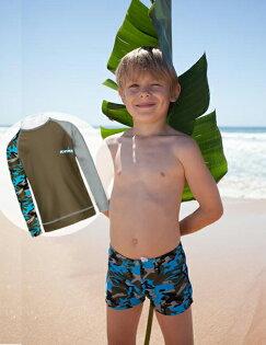 兒童泳衣 防曬★長袖★上衣+平口短褲套組 Xtra Lycra 萊卡 澳洲鴨嘴獸 UPF 50+ 抗UV (男4-14歲) 迷彩