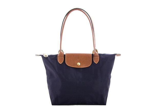 [2605-S號]國外Outlet代購正品 法國巴黎 Longchamp  長柄 購物袋防水尼龍手提肩背水餃包 深紫色