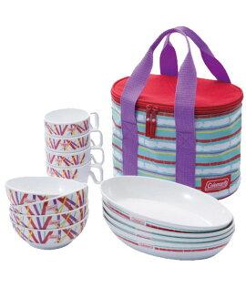【露營趣】中和 美國 Coleman 高質感 彩色四人份餐盤組 環保餐具 碗 杯子 盤子 CM-5668