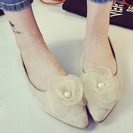 尖頭鞋 浪漫珍珠花朵尖頭平底包鞋【S1583】☆雙兒網☆ 0