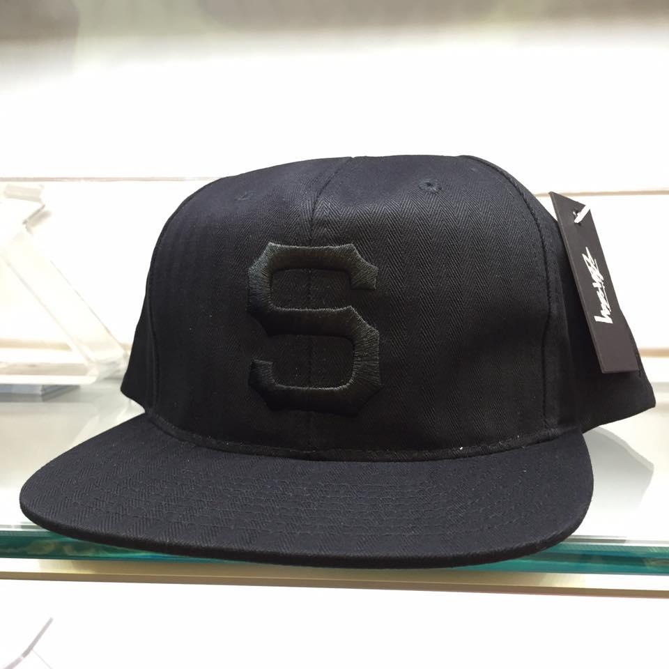 BEETLE STUSSY HERRINGBONE SNAPBACK CAP 全黑 S 棒球帽 LOGO 素面 刺繡 0