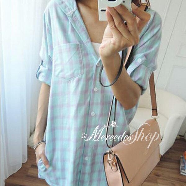 梅西蒂絲 - 韓國連帽彩格單口袋可捲袖襯衫