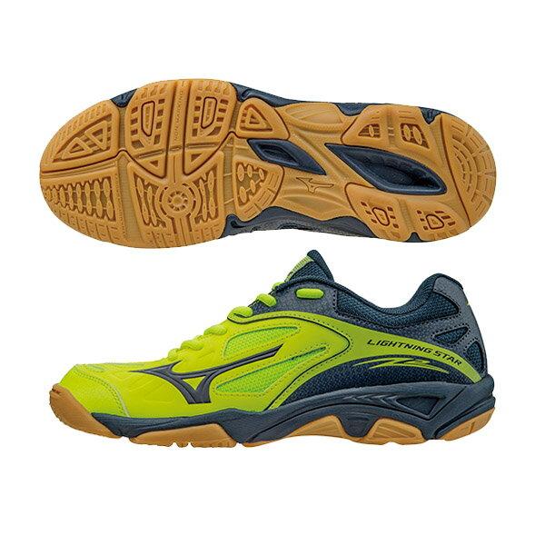 WAVE LIGHTNING STAR Z2 JNR兒童排球鞋 V1GD160315(螢光綠X深藍)S【美津濃MIZUNO】