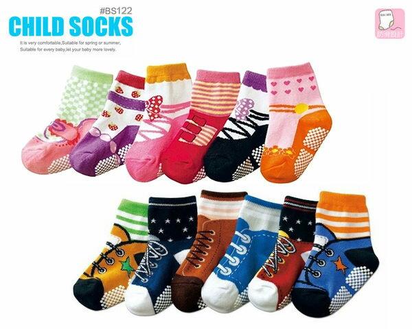 《任意門親子寶庫》男女童襪/直板襪/中筒襪/鞋底防滑設計【BS122】假鞋造型襪