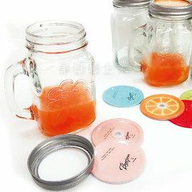 派樂 馬口鐵雙蓋玻璃手把水杯 飲料杯 加厚浮雕款^(1入^) 梅森杯 玻璃馬克杯 玻璃杯