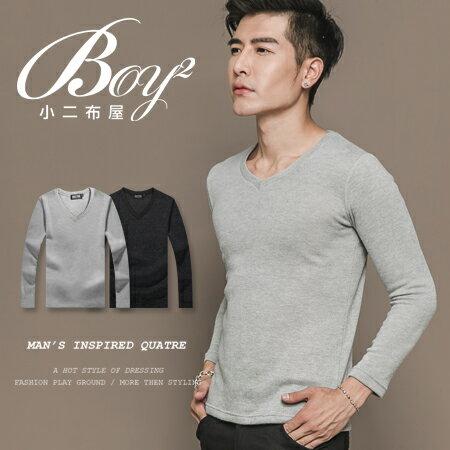 ☆BOY-2☆【ND6222】韓版素面V領針織長T恤 0