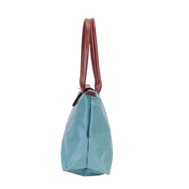 [2605-S號] 國外Outlet代購正品 法國巴黎 Longchamp 長柄 購物袋防水尼龍手提肩背水餃包 湖水藍色 2