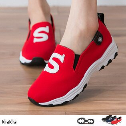 懶人鞋  SALE 未來感超人S字母Q軟心機帆布厚底休閒鞋 【011600175】