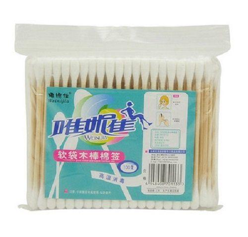 PS Mall 100支軟袋木棒棉衛生棉花棒 木棉籤雙頭 【J1310】