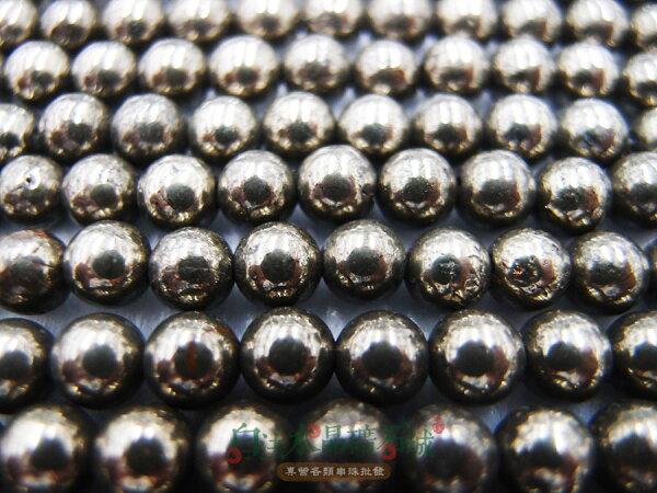 白法水晶礦石城 祕魯-天然 黃鐵礦 愚人金 6mm 礦質 串珠/條珠  首飾材料