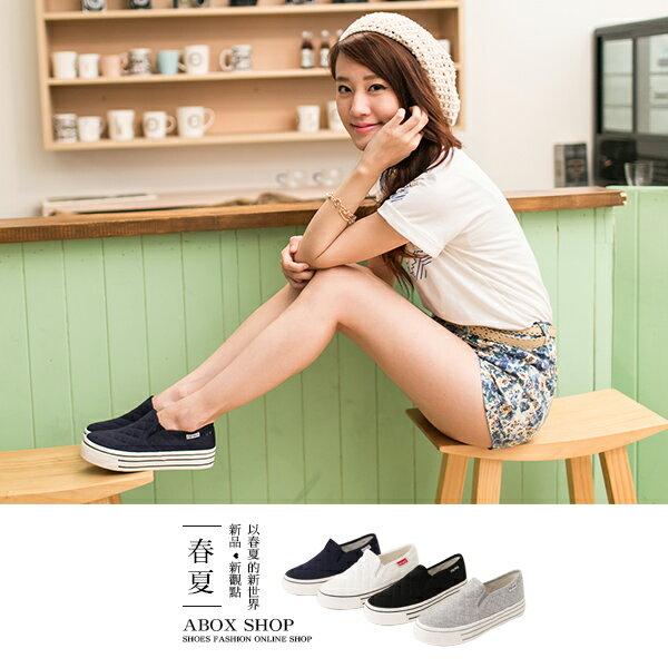 格子舖*【APRW855】 韓國熱賣 格菱紋車線布料 厚底增高3.5CM休閒帆布鞋 樂福鞋 懶人鞋 4色 0
