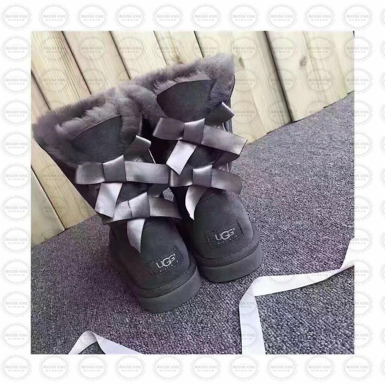 OUTLET正品代購 澳洲 UGG 蝴蝶結3280羊皮毛一體 中長靴 保暖 真皮羊皮毛 雪靴 短靴 灰色 0