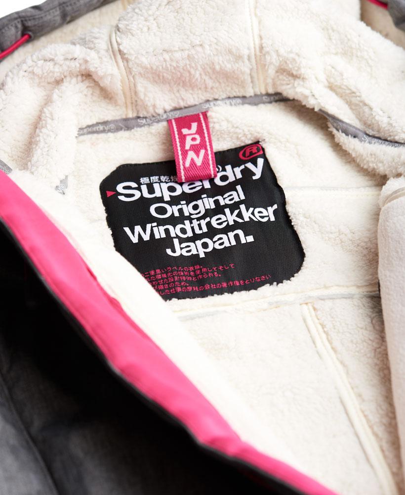 [女款]Outlet英國代購極度乾燥 Superdry Windtrekker 女款 羊羔毛 刷毛 風衣連帽防風防水外套 淺麻灰 4