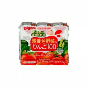 日本【貝親Pigeon】黃綠色蔬菜蘋果汁鋁箔包 (125mlx3入)