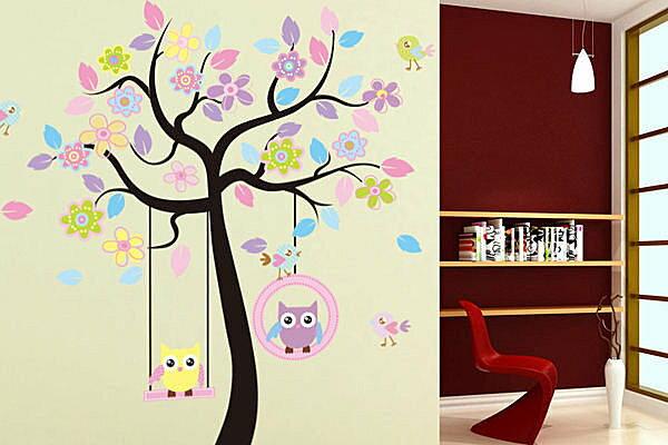 BO雜貨~YV2223~ 可移動壁貼 牆貼  壁貼 鞦韆 兒童可愛 貓頭鷹秋千樹 ~  好