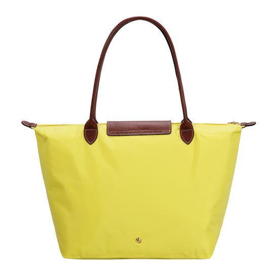 [長柄M號]國外Outlet代購正品 法國巴黎 Longchamp [1899-M號] 長柄 購物袋防水尼龍手提肩背水餃包 檸檬黃 2
