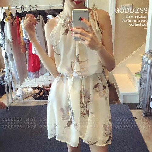 均一價199~嘉蒂斯洋裝 花朵印花領口褶皺削肩雪紡連衣裙附綁帶~060834~1色