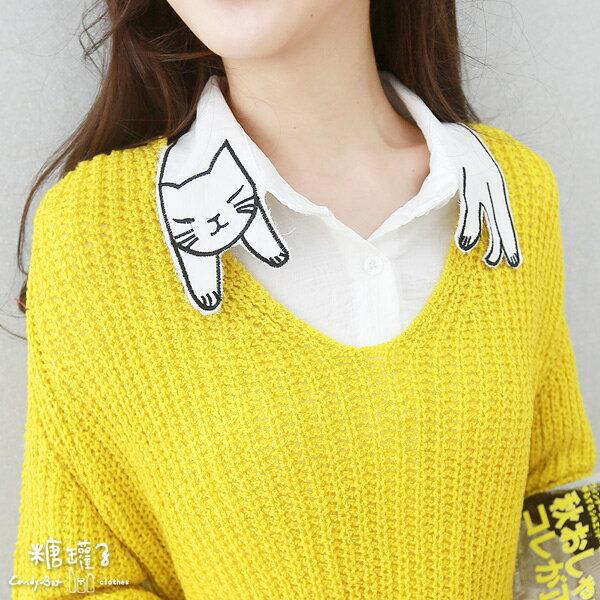 ★原價499五折250★糖罐子貓咪領襯衫→貓咪 預購【E41276】 1
