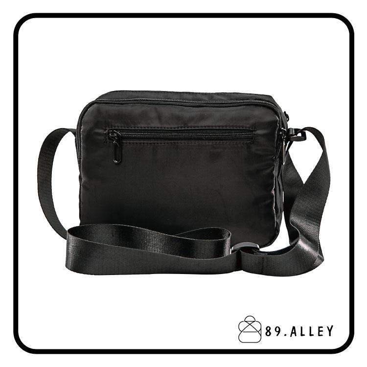 側背包 女包男包 黑色系防水包 輕量尼龍直式雙層情侶斜背包 89.Alley 3