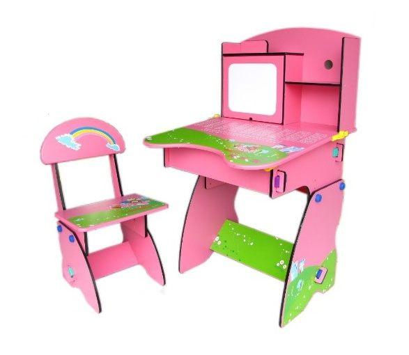 kikimmy--歐風成長學習桌 兒童書桌椅 粉色