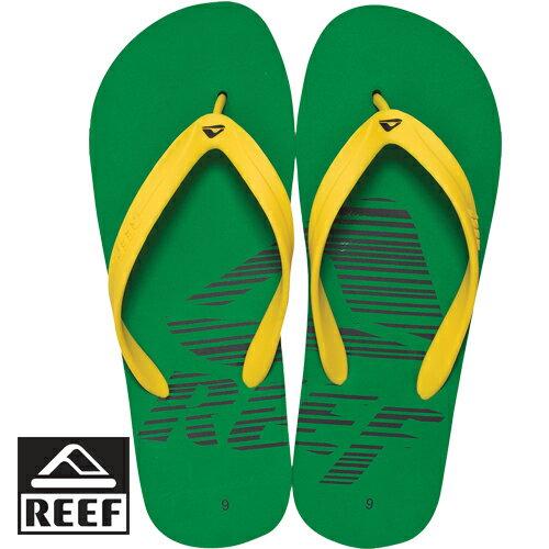 【專區全面58折↘】REEF 銷售第一經典基本男款人字拖.巴西 綠/黃