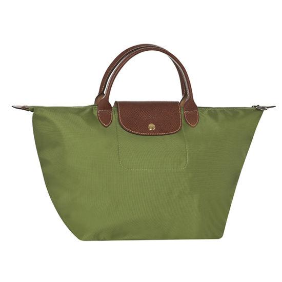 [1623-M號] 國外Outlet代購正品 法國巴黎 Longchamp 長柄 購物袋防水尼龍手提肩背水餃包草綠色 0