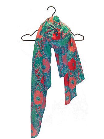 【COTE VIE 精選】湖水藍綠印花棉圍巾 - 限時優惠好康折扣