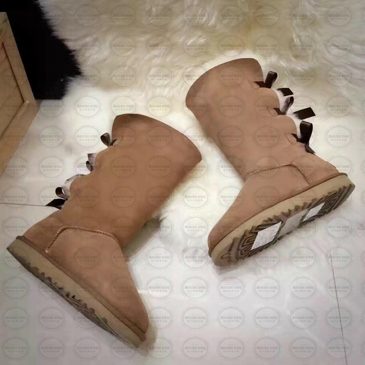 OUTLET正品代購 澳洲 UGG 一體女式絲帶蝴蝶結 保暖 真皮羊皮毛 雪靴 短靴 棕色 2