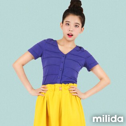 【milida】☆秋季單品☆T恤款☆素色鈕扣短袖T