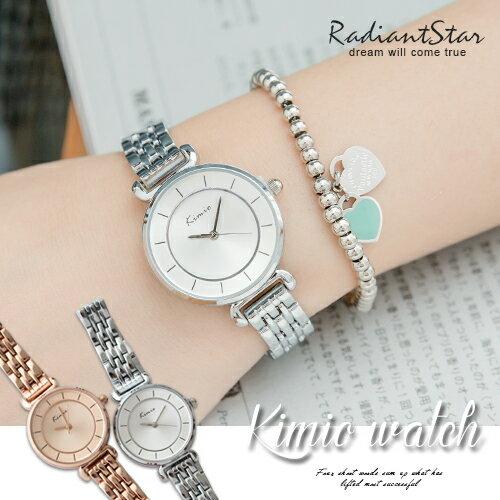 韓國KIMIO純淨質感線條刻度金屬鍊帶錶【WKI6028S】璀璨之星☆