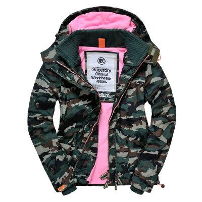 [女款]outlet正品 代購 英國極度乾燥 Superdry Arctic 女款 休閒三層拉鍊連帽保暖防風外套 迷彩/粉色 0