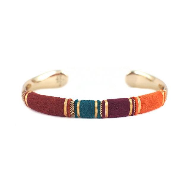 【現貨商品】【GAS Bijoux】Massai 麂皮手編拋光黃銅手環(GAB006Grn-097  0887730000) 0