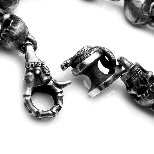 【海外訂購】【MAD CULT】經典仿舊骷髏純銀手環 M (MAD-B-06-M  0647220000) 3