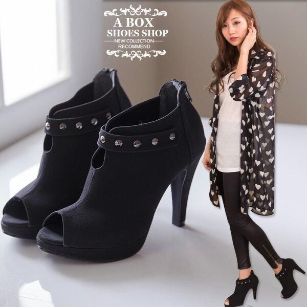 格子舖*【KP672】MIT台灣製 時尚質感絨布 個性金屬鉚釘 性感魚口細高跟短靴裸靴 黑絨