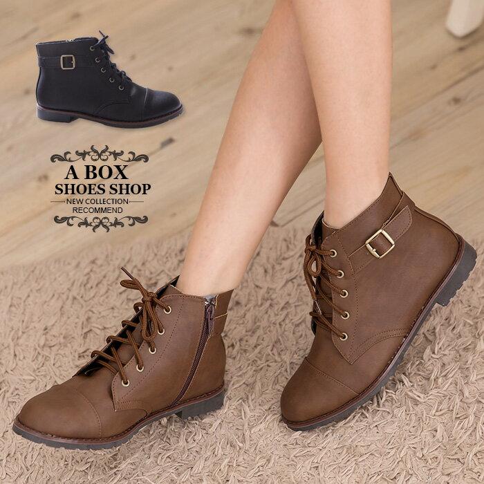 格子舖*【KW9989】MIT台灣製 個性輕旅行 皮革素面側拉鍊綁帶式 粗低跟超舒適短靴 機車靴 2色 0