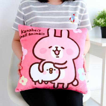 正版卡娜赫拉小動物方型抱枕 抱枕 靠墊 靠枕 娃娃 兔子 小兔兔 貓咪 P助 小雞 Kanahei【B062224】